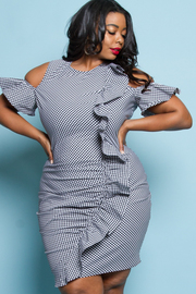 PLUS SIZE OFF SHOULDER FITTED MINI DRESS