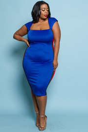 PLUS SIZE SIDE STRIPE FITTED MIDI DRESS