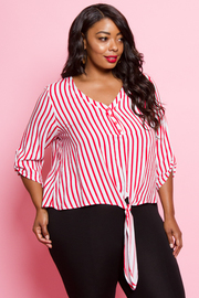 PLUS SIZE STRIPE 3/4 SLEEVE TOP