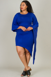 PLUS SIZE UNBALANCED LONG SLEEVE FITTED MIDI DRESS