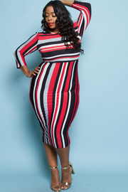 PLUS SIZE STRIPE FITTED MIDI DRESS