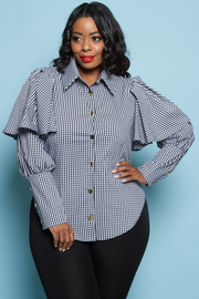 PLUS SIZE LAYERED LONG SLEEVE TOP