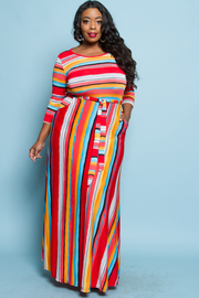 PLUS SIZE STRIPED MAXI DRESS
