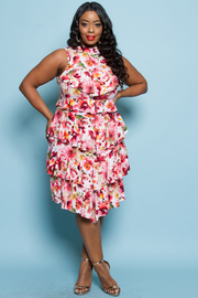 PLUS SIZE SLEEVELESS FLORAL LONG DRESS