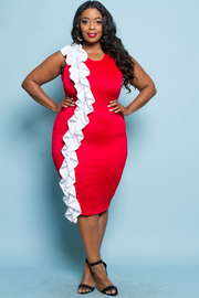 PLUS SIZE SLEEVELSS RUFFLE POINT FITTED MIDI DRESS
