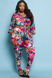 PLUS SIZE STYLISH SHIRTS TOP AND PANTS SET