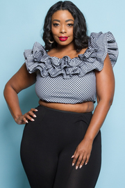 PLUS SIZE RUFFLE POINT SHORT SLEEVE TOP