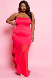 PLUS SIZE COLD SHOULDER SEXY MAXI DRESS
