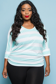 PLUS SIZE CUTE ROUND NECK 3/4 SLEEVE TOP