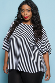 PLUS SIZE STRIPE BELL 3/4 SLEEVE TOP