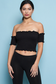 COLD SHOULDER CUTE SHORT CROP TOP
