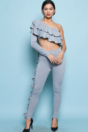 RUFFLE ONE OFF SHOULDER TOP AND PANTS SET