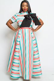 PLUS SIZE SHORT SLEEVES HIGH NECK MAXI DRESS WITH RIBBON POINT
