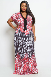 PLUS SIZE BLACK AND RED COMBO PRINTED V NECK TIED MAXI DRESS