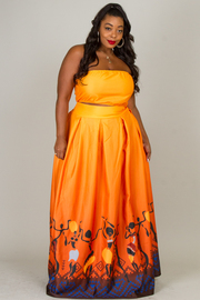 PLUS SIZE TUBE TOP A-LINE MAXI SKIRT