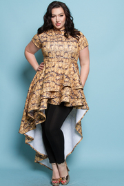 PLUS SIZE TURTLE NECK SHORT SLEEVES WITH A CASCADE TAIL ON THE SIDE PRINTED MINI DRESS