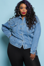 PLUS SIZE DENIM SHIRTS JACKET