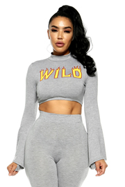 """Wild"" Long Sleeve Bell Crop Top"