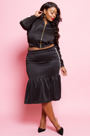 PLUS SIZE SIDE STRIPE TOP AND SKIRTS SET