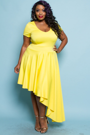 PLUS SIZE UNBALANCED MIDI DRESS
