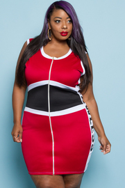 PLUS SIZE Zipper Front Sleeveless Scuba Dress With Letters On The Side