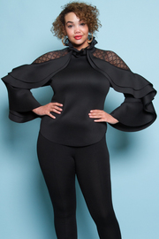 PLUS SIZE MESH SHOULDER POINT LONG SLEEVE TOP