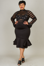 PLUS SIZE MESH LONG SLEEVE TOP MIDI DRESS