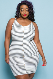 PLUS SIZE SLEEVELESS STRIPE MINI DRESS