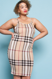 PLUS SIZE CHECKED PATTERN FITTED MINI DRESS