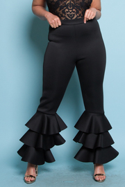 Plus Size Ruffled Layered Solid Pants