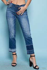STYLISH DESTROYED CROP BOOT CUT JEANS