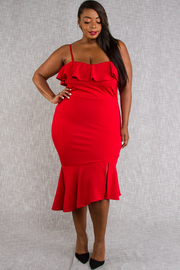 PLUS SIZE COLD SHOULDER FITTED SLIT MIDI DRESS