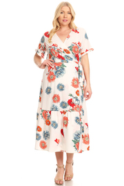 PLUS SIZE WRAP SHORT SLEEVE LONG DRESS