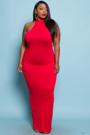 PLUS SIZE FITTED MAXI DRESS