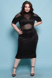PLUS SIZE MESH SHOULDER POINT MIDI DRESS