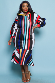 PLUS SIZE STRIPE PATTERN HOODIE LONG DRESS