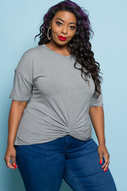 PLUS SIZE FRONT TIE SHORT SLEEVE TOP