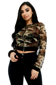 PLUS SIZE MESH CAMO CROP JACKET