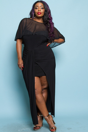 PLUS SIZE SLEEVELESS MAXI DRESS WITH COVERUP