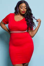 PLUS SIZE FITTED SIMPLE SEXY MINI DRESS