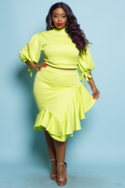 PLUS SIZE 3/4 SLEEVE TOP AND SKIRT SET