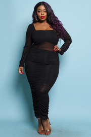 PLUS SIZE LONG SLEEVE SHIRRING LONG DRESS