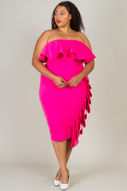 PLUS SIZE OFF SHOULDER SIDE RUFFLE LONG DRESS