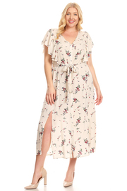 PLUS SIZE Floral printed, midi, fit and flare dress