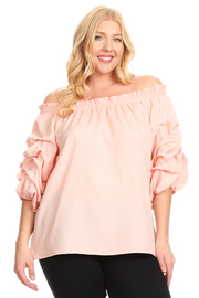PLUS SIZE COLD SHOULDER 3/4 SLEEVE SHRRING TOP