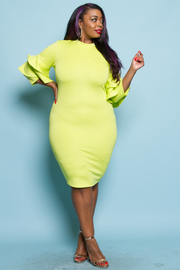 PLUS SIZE RUFFLE SLEEVE FITTED MINI DRESS