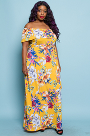 PLUS SIZE COLD SHOULDER MAXI DRESS