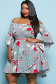 PLUS SIZE COLD SHOULDER A LINE MINI DRESS