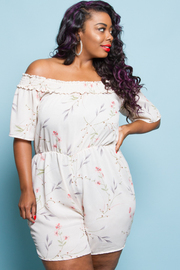 PLUS SIZE COLD SHOULDER SHORT SLEEVE ROMPER
