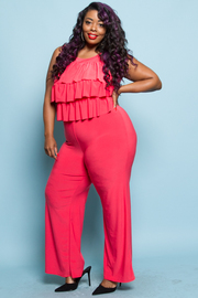 PLUS SIZE LAYED TOP JUMPSUITS